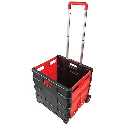 NEW Folding Boot Cart Shopping Trolley Fold Up Storage Box Wheels Crate Foldable
