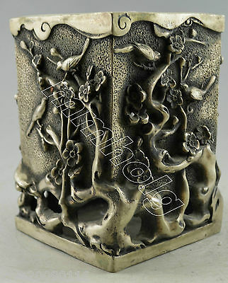 Collectible Decorated Old Handwork Silver Plate Copper Carve Bird Tree Brush Pot