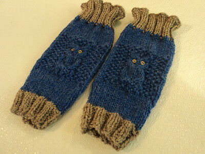 Handcrafted Knitted Baby Leg Warmers Blue/Gray Owl Eye Buttons Male 9-12 months