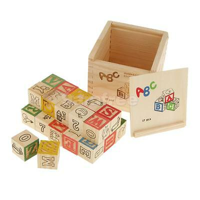 Box of 27pcs Wooden ABC & Numbers Blocks Kids Childrens Educational Toy Gift