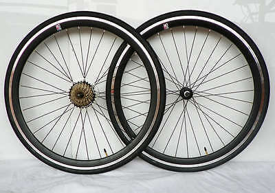 5. 6. 7 speed 700c racing bike wheelsets / gear wheels with tyres and tubes