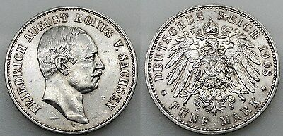 Alemania 1908 Friedrich August Konig V. Sachsen 5 Mark Marcos Moneda Plata Mbc+