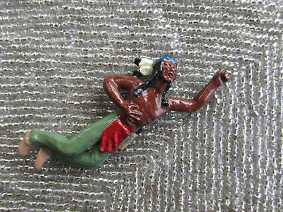 Vintage MINIATURE SOLID Metal WOUNDED AMERICAN Indian BRAVE