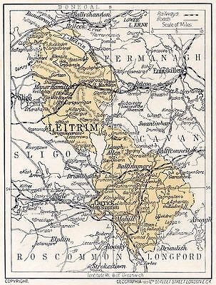 1923 map of Ireland: County Leitrim  antique ready-mounted print SUPERB