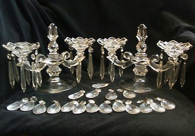 2 Duncan & Miller Early American Sandwich Double Candle Holders Bobeche Prisms