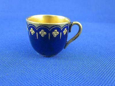 Antique Coalport Miniature Tea Cup Cobalt Blue Jeweled 5936 c1891-1919