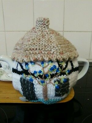 Handknitted black and white blue bell  cottage tea cosy