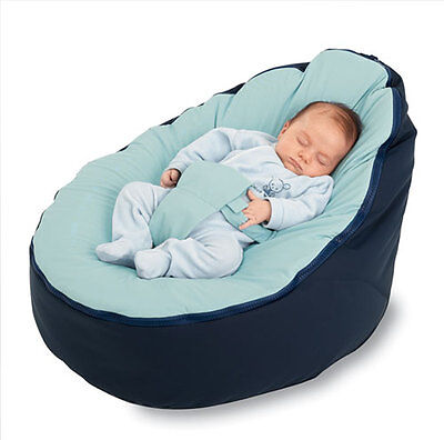 New Baby Bean Bag - Pre filled With 2 Removable Covers & Harness - Navy Blue