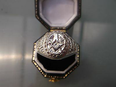 Masonic Silver Men's Ring Stamped Size U-Half Weight 6.1g Lovely Condition