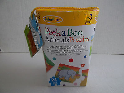 "Infantino PeekaBoo Animals Puzzles - Ages 1-3 - ""Slide & Reveal"" Puzzles"