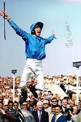 Signed Frankie Dettori Flying Dismount Ascot Photo Autograph Coa Horse Racing