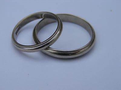 His and Hers solid 14k White Gold Matching Wedding Band Ring set Size 7 & 12