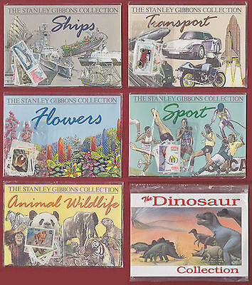 Stanley Gibbons Collection x5 (ships/transport/flowers/sport/animal) +dinosaurs