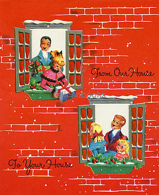 #653 UNUSED, Greetings From the Window! Vintage Christmas Card