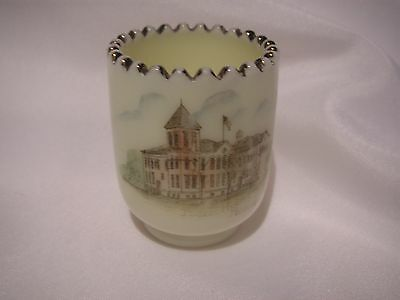 Old  Souvenir Custard Glass Toothpick Holder, Princeton Public High School