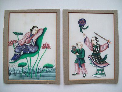 TWO 19th CENTURY CHINESE RICE/PITH PAPER PAINTINGS - MYTHICAL LADIES
