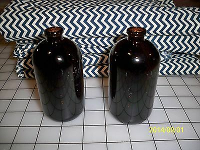 2 Amber Glass Bottles w/Stoppers