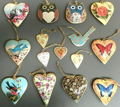 Vintage Style Birds Floral Hanging Heart Decoration Home Wedding Gift Favours