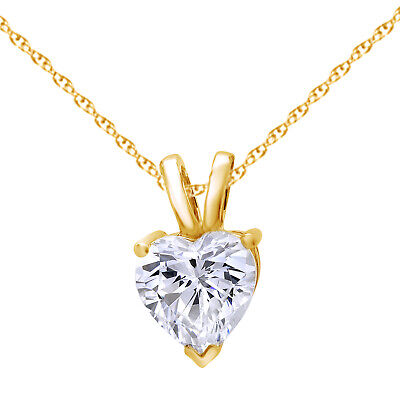"""14K Yellow GOLD 2.0 CT Heart Cut SOLITAIRE PENDANT NECKLACE + 18"""" CHAIN"""