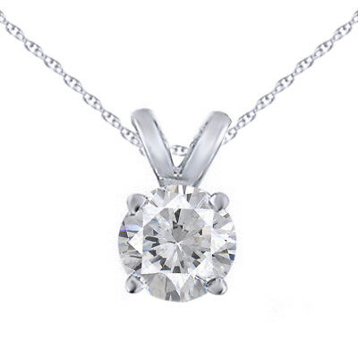 1/6Ct Solitaire Round Diamond Pendant Chain 14K White Gold