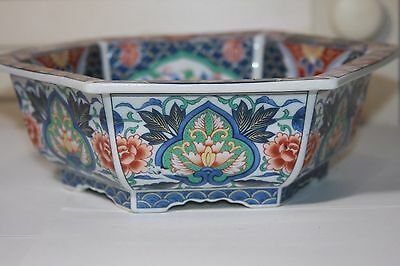 Vintage Oriental Six Sided Bowl Floral Footed Decorative Home Decor Japan