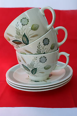 c1960s Wood & Sons Woods Ware Clovelly Coffee / Tea Cup & Saucer England 3 AVAIL