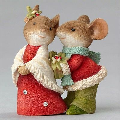 Enesco Heart of Christmas Mouse Couple with Holly Figurine $50=FreeShipUS