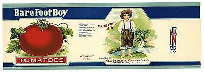 BARE FOOT BOY Vintage Indiana Tomato Can Label, AN ORIGINAL 1910's TIN CAN LABEL