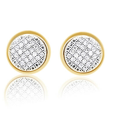 Mens Ladies Round Diamond Pave 9mm Bezel Studs Earrings 1/3 ct 10k Yellow Gold