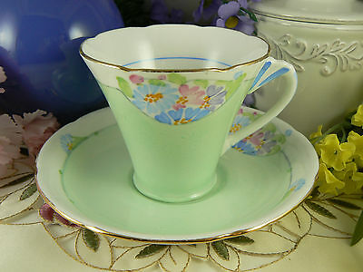 Vintage 1935-1972 ABJ Grafton Green Hand Painted Teacup & Saucer China England