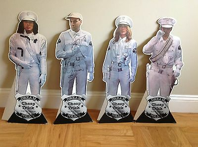 Signed! Set 4 Cheap Trick 1979 Dream Police Cardboard Cutouts Promo Poster