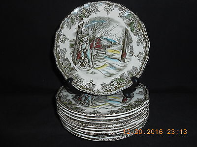 "10 Johnson Brothers England Friendly Village 6 1/8"" Bread & Butter Plates Mint"