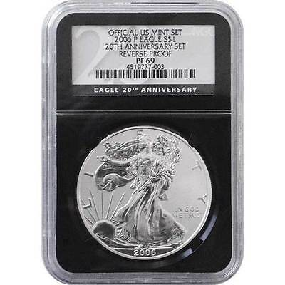 2006-P Reverse Proof Silver Eagle 20th Anniversary Set NGC PF69 ( Black Core )