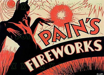 """PAIN'S Imperial Fireworks - England - Fire Devil POSTER - 13x19"""""""