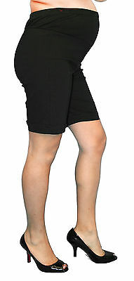 Black Maternity Shorts Summer Womens Belly Elastic Band Confortable Solid