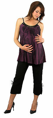 Maternity Set Pregnancy Attire Wedding Party Black Capris Sleeveless Purple