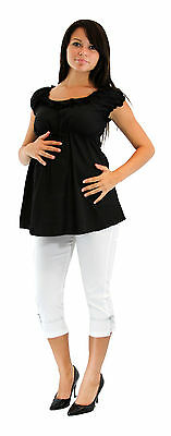 Two Piece Set Pregnancy Attire Maternity Party White Capri Short Sleeve Black