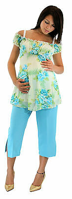 Beach Vintage Two Piece Maternity Capris Blue Baby Pregnancy Sets Pants