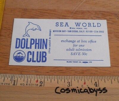 Sea World Dolphin Club discount Card 1970 VINTAGE unused San Diego