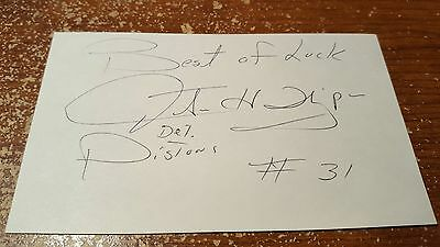 JUSTUS THIGPEN  Signed AUTO  Index Card ABA,NBA PISTONS