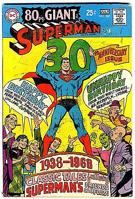 """Superman #207  VG  1968  """"strict grading/1day shipping"""" - retail $13.50"""