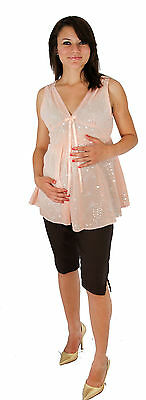 Pink Babyshower Sheer Sleeveless Solid Two Piece Set Summer Outfit Black Capris