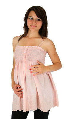 Pink Vintage Sleeveless Maternity Top Blouse Pregnancy Womens Solid