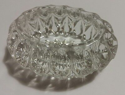 Vintage  Open Salt Cellar Heavy Cut Glass Oval Diamond Cut
