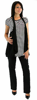 Stripped Two Piece Outfit Set Black Slacks Stripped Blouse Short Sleeve Bootcut