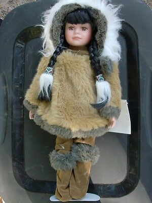 "Heritage Indian Arts & Crafts  Porcelain Doll  17""  New Condition w/ tag"
