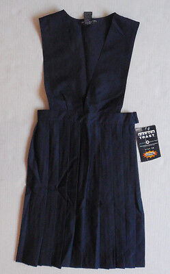 NEW French Toast Navy Blue pleated front Uniform Jumper Dress girls size 14 / 16