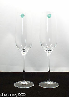 Tiffany & Co Crystal Pair of Champagne Flutes