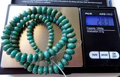 Vtg Arizona Natural Green Rondelle Necklace Beads Premium Quality TGW 142 cts