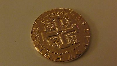 SPANISH GOLD DOUBLOON 8 ESCUDOS~EXACT REPLICA~USA MADE~Gold Plated Pewter